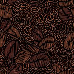 Vector seamless pattern. Coffee bean