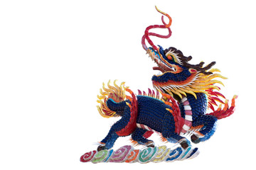 Chinese blue Kirin statue for decoration in the temple isolated on white background.
