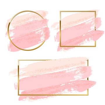 Pastel pink brush strokes set with round, square and rectangle golden frames isolated on white background. Vector design elements.