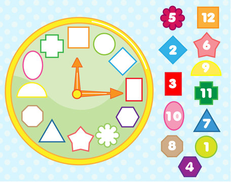 Matching children educational game. Clock puzzle shape sorting for kids and toddlers. Learn numbers, time and forms