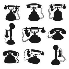 Retro phone, rotary dial telephone silhouettes