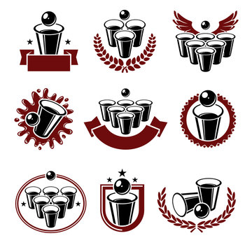 Beer pong collection labels and elements set. Collection icon beer pong . Vector