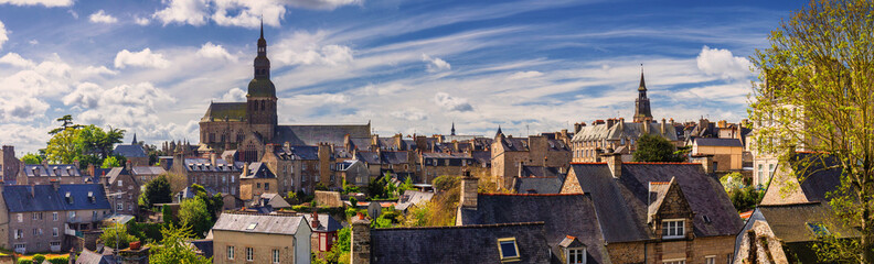 Beautiful view of scenic narrow alley with historic traditional houses and cobbled street in an old...