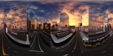 Papiers peints Autoroute nuit cityscape, HDRI, environment map , Round panorama, spherical panorama, equidistant projection, panorama 360