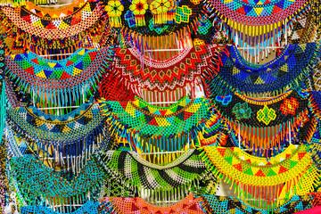 Colorful Mexican Bead Necklaces Handicrafts Oaxaca Juarez Mexico