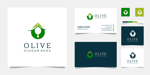 premium olive oil logo design and business cards