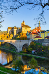 Poster Krakow Colorful town and Castle Loket over Eger river in the near of Karlovy Vary, Czech Republic