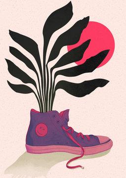 Chaussure et plantes