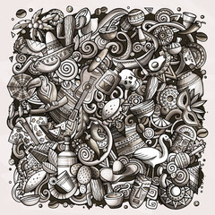 Cartoon doodles Latin America illustration. Toned latinamerican picture