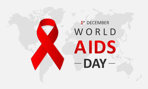 World AIDS Day December 1st. Banner with red ribbon and text World Aids Day on gray map background. Vector illustration EPS 10