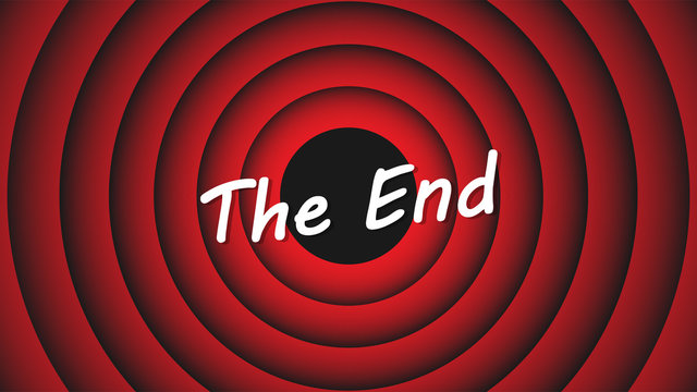 Movie ending screen. Inscription The End on the background of red circles. End cartoon screen. Vector illustration EPS 10