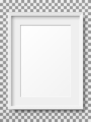 Realistic white vertical picture frame isolated on transparent background.