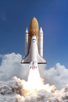 Rocket liftoff. The elements of this image furnished by NASA.