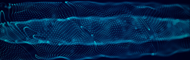 Wave 3d. Wave of particles. Abstract Blue Geometric Background. Big data visualization. Data...