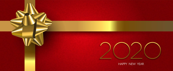 Wall Mural - Happy New Year 2020 red holiday gift banner