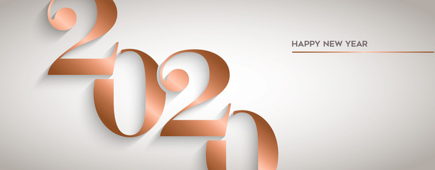 Wall Mural - Happy New Year gold copper 2020 number banner