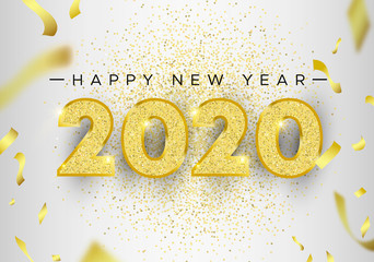 Wall Mural - New Year 2020 gold glitter holiday greeting card