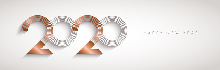 Wall Mural - New Year 2020 abstract number date copper banner