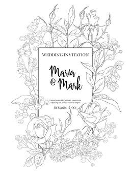 Wedding invitation with white roses and spring flowers. Outline hand drawing vector illustration.