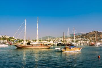 View of  marina at sunset, Bodrum, Turkey. Marine landscape with yachts