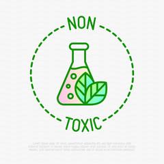 Obraz Non toxic symbol. Thin line icon for organic product. Modern vector illustration. - fototapety do salonu