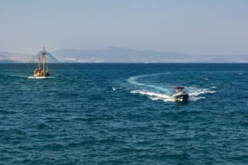 Boats and yachts near the island Kos Greece