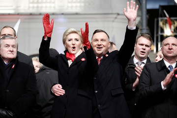 Polish President Andrzej Duda and his wife Agata attend a concert marking the National Independence Day in Warsaw