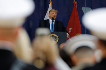 U.S. President Donald Trump delivers remarks at a Veterans Day Parade and Wreath Laying ceremony in Manhattan, New York City