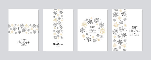Wall Mural - Merry Christmas modern elegant card set with snowflakes greetings and on white background