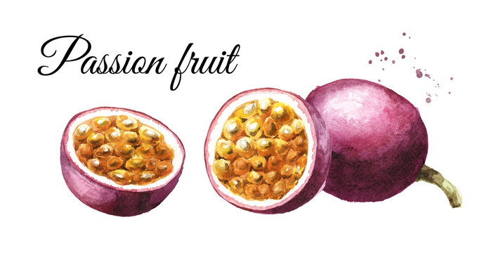 Whole and half passion fruit or maracuja. Watercolor hand drawn illustration, isolated on white background