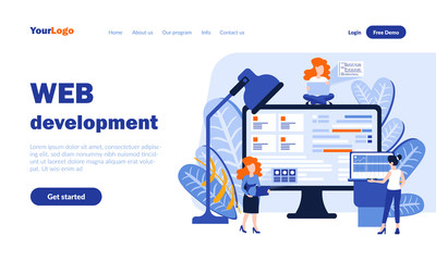 Web development vector landing page template with header. Online business web banner, homepage design with flat illustrations. Internet users, managers cartoon characters. SEO concept