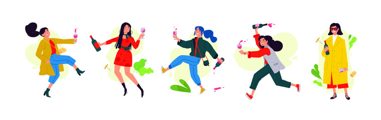 Illustration of dancing girls on Women's Day. Vector. Women celebrate the holiday, have fun and relax. Party all night long March 8th. Slightly drunken ladies, without complexes. Flat style.