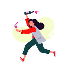 Illustration of a girl with a glass of wine and a bottle. Vector. A woman celebrates a holiday and runs to a meeting. Rest and party. Fun all night. A little bit drunk lady, without complexes. Flat st