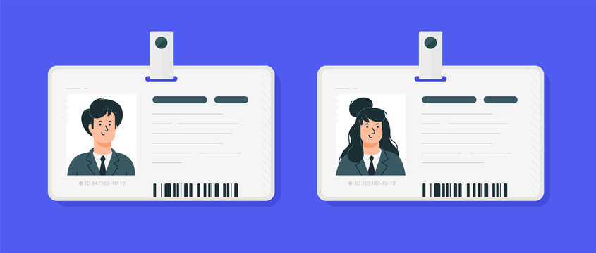 Plastic identification cards of a woman and a man. Car driver license isolated on a blue background. Flat cartoon style. Student, corporate pass.