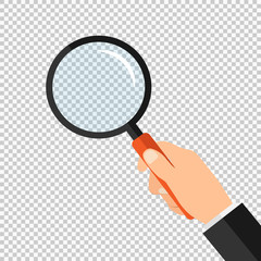 Magnifying glass in hand. Stock Vector Illustration EPS 10