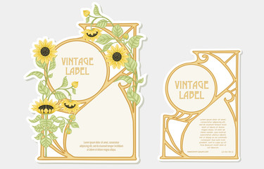 Sunflower. Set of 2 labels, decorative frames, borders. Good for product label with place for text Colored vector illustration. In art nouveau style, vintage, old, retro. Isolated on white background.