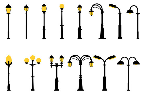 Set of street lights black silhouette isolated on white background. Collection of modern and vintage street lights. Elements for landscape construction. Vector illustration for any design.