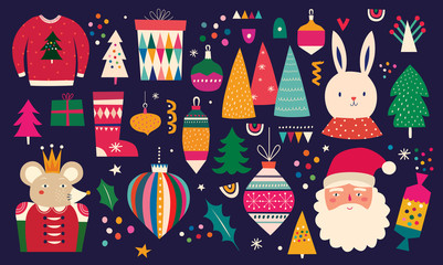 Fotomurales - Christmas decorative illustration in vintage style