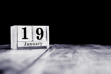 January 19th, 19 January, Nineteenth of January, calendar month - date or anniversary or birthday