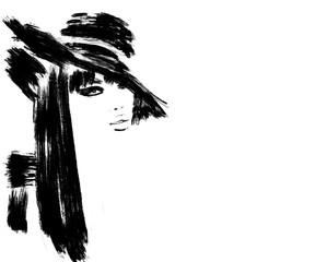 Sketch fashion.Abstract simple black and white painting of beautiful model. Haute couture Classic woman. Fashion illustration cute girl with big hat