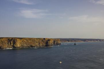 Arrifana Atlantic sea coast in Algarve, the south of Portugal.