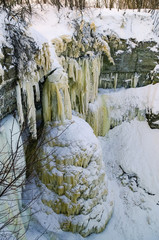 Valaste Waterfall is the highest waterfall in Estonia and popular tourist attraction with its spray freezing up in winter