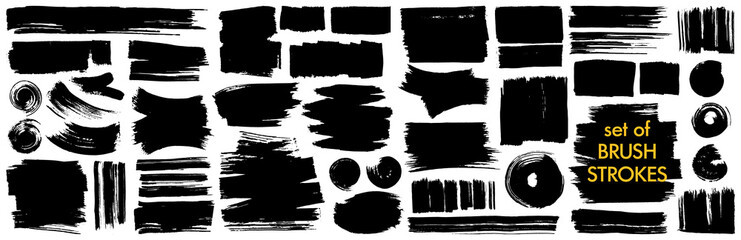 Collection of different ink brush strokes:rectangle,square and round freehand drawings.Ink splatters,grungy painted lines,artistic design elements.Vector paintbrush set.