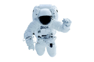 Astronaut in a spacesuit waving his hand. Isolated on a white background. Elements of this image were furnished by NASA.