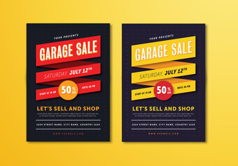 Garage Sale Flyer Layout with Ribbon