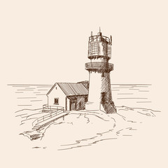 The lighthouse shines on the stone shore. Vector sketch.