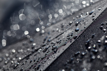Abstract black background. Blurred raindrops with bokeh on a black umbrella. Rain Water droplets on black waterproof fabric.Raindrops in the sun. Background with free space.