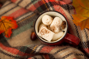 Cozy blanket with hot chocolate cup with marshmallow candies
