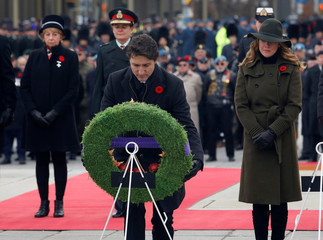 Canada's Prime Minister Justin Trudeau lays a wreath at the National War Memorial on Remembrance Day in Ottawa