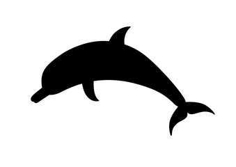 Dolphin, vector silhouette on a white background.